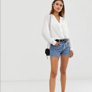 ASOS DESIGN long sleeve blouse with pocket detail